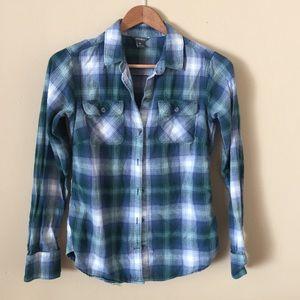 Eddie Bauer XS plaid flannel shirt